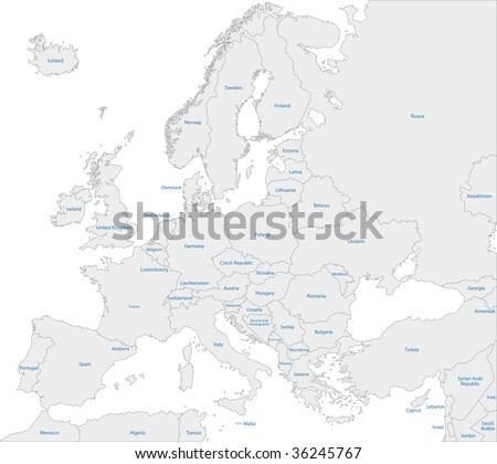Grey Europe map with countries