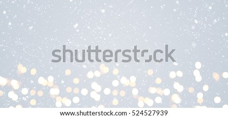 Grey festive Christmas or New Year background with shiny golden baubles #524527939