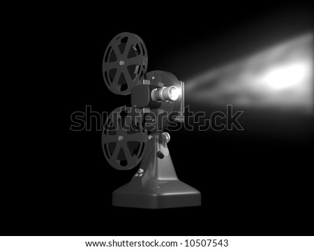 Grey film projector playing 3D render on black background