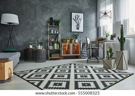Grey flat with black and white pattern carpet #555008323