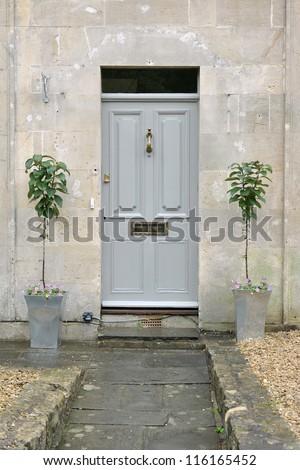 Grey Front Door of an Attractive Georgian Era London Town House