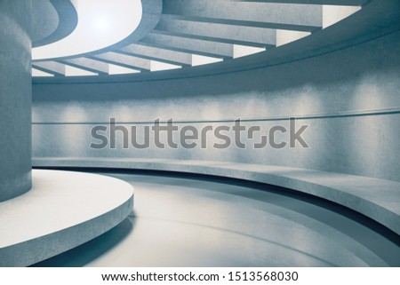 Foto mural Grey futuristic concrete space ship interior with light. Abstract tunnel. 3D Rendering