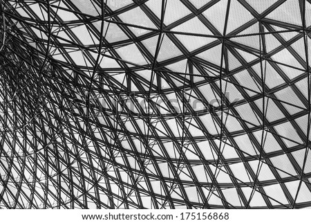 Grey geometric abstract background - part of a modern ceiling