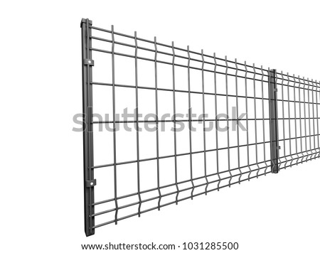 grey  grating wire industrial fence panels, pvc metal fence panel 3d illustration on isolated white background