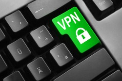 grey keyboard green enter button vpn lock symbol