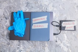 Grey laptop, medical gloves and hard drive with info about Covid19 marked Top secret on grey background. Illustration of conspiracy theory. Ironic image.