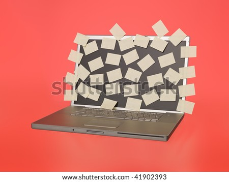 Grey laptop overflowed with empty post-its isolated