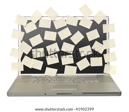 Grey laptop overflowed with empty post-its isolated on a white background