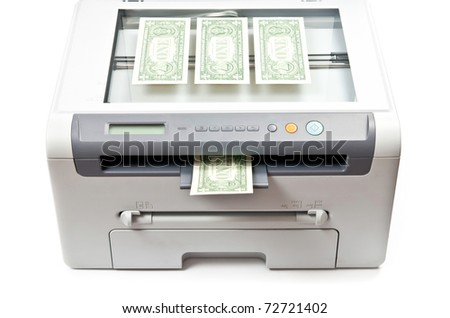Grey Laser printer and dollars isolated on white background