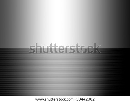Grey lines background and chrome plate empty to insert text or design - stock photo