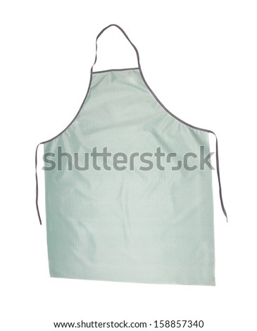 Grey long apron. Isolated on a white background