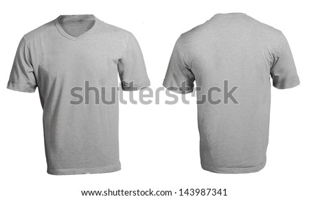 Grey male's v-neck shirt template front and back design