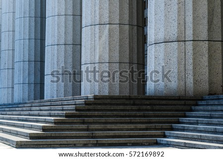 Grey marble column details on building in Shanghai,China.