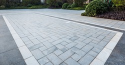 Grey marble floor tiles on garden square in residential area。Sidewalk, Driveway, Pavers, Pavement in Vintage Design Flooring Square Pattern Texture Background