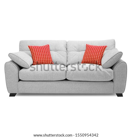 Grey Mid Back Linen Sofa Bed Isolated on White. Upholstered Loveseat with Armrests and Seat Cushion Front View. Two 2 Seater Couch with Four Scatter Pillows