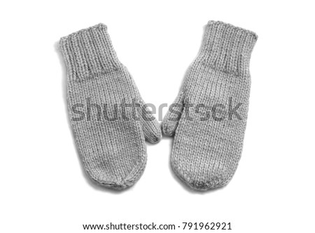 Grey mittens isolated on white background #791962921