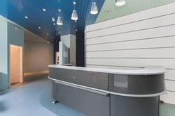 Grey modern reception in an office building