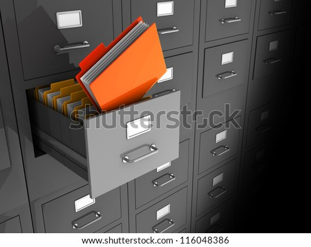 Grey office wall of files with important information in front
