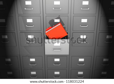 Grey office wall of files with red folder in front