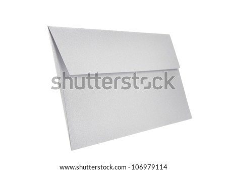 Grey Paper envelope isolated on white background with clipping path