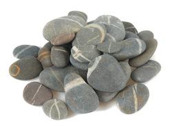 Grey pebbles isolated on white background. Grey sea stones with white stripes isolated on white. Studio shot.