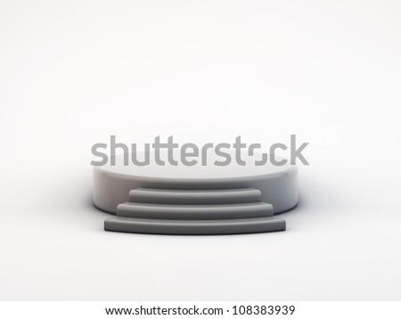 grey podium on white  background