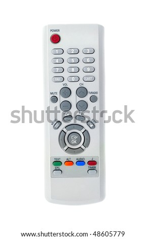 Grey remote control for TV set