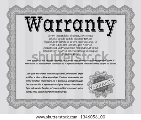 Grey Retro vintage Warranty Certificate. With guilloche pattern. Money Pattern. Detailed.  #1346056100