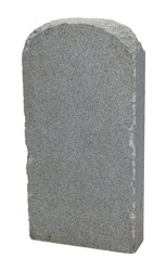 Grey Rock Grave Stone with Copy Space Isolated on White Background.