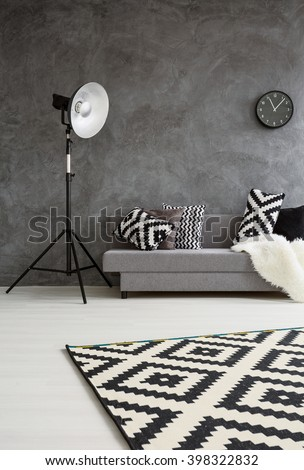 Grey room with sofa, new standing lamp, and pattern decorations in black and white  - Shutterstock ID 398322832