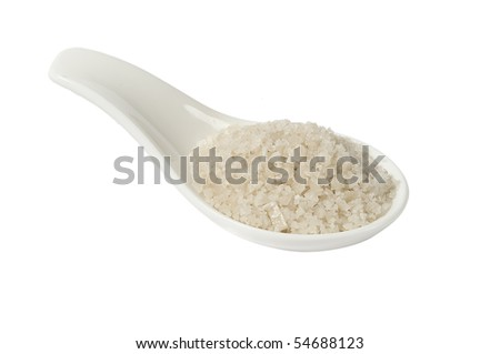 Grey sea salt, hand-harvested from Guerlande, isolated in white background