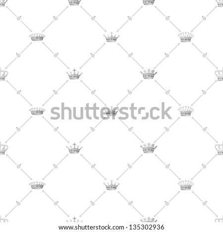 Grey seamless pattern with crown symbol, bitmap copy.