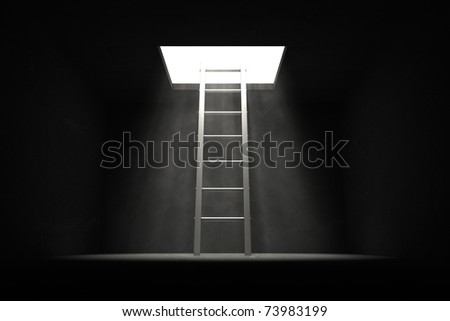 grey shiny ladder in the middle of a dark room leads out to the light