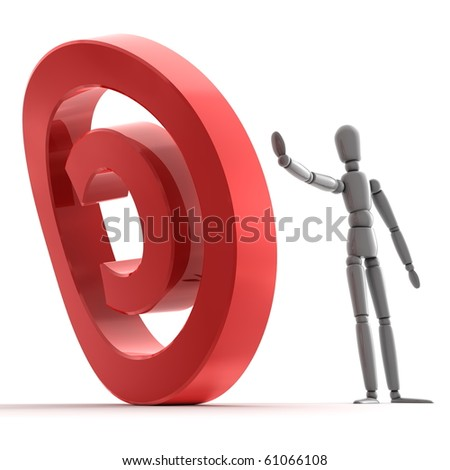 grey shiny person is stopping a shiny glossy red copyright sign