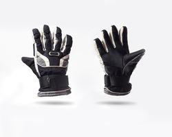 grey ski gloves isolated on white background
