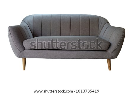 Grey sofa modern style isolated on white background ,included Clipping path #1013735419