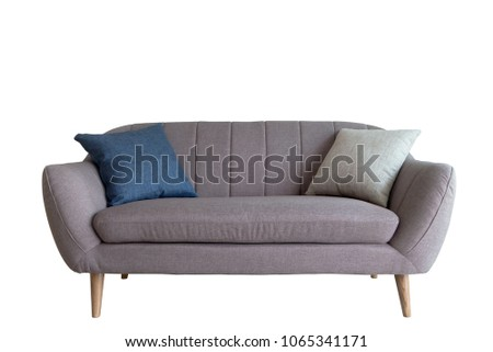 Grey sofa with 4 pillows modern style isolated on white background ,included Clipping path #1065341171