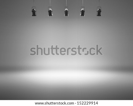 grey spotlight background with lamps