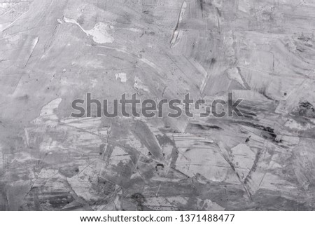 Grey stone background, grey cement texture. Top view, flat lay