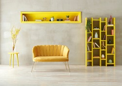 Grey stone wall background, yellow furniture style with sofa armchair bookshelf and niche, interior room decoration style.