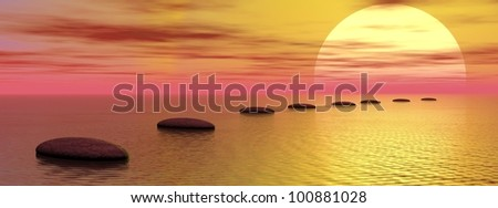 Grey stones steps upon the ocean going to the sun by cloudy sunset