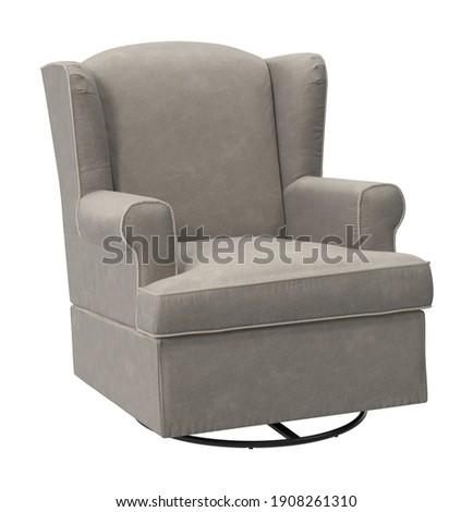 Grey Swivel Chair 3D illustration on white background Foto stock ©