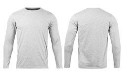 Grey T shirt long sleeves mockup front and back used as design template, isolated on white background with clipping path.
