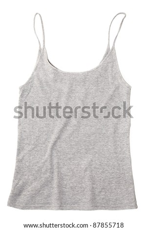 grey tank top isolated on white - stock photo