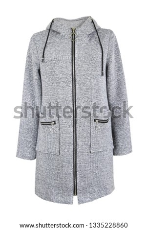 Grey textile coat with zipper casual style isolated on white. Women's clothes. #1335228860