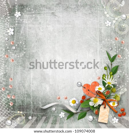 Grey textured background vintage with flowers. Page to design photo books, album.
