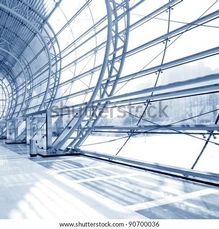grey unusual geometric ceiling of office building