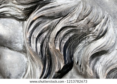 Grey wavy granite lion mane closeup, carved stone background or texture