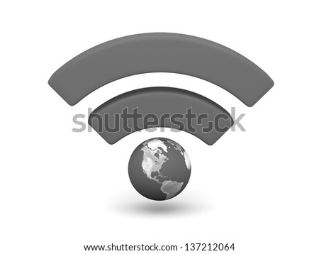 Grey WiFi symbol with planet Earth isolated on white background. Elements of this image furnished by NASA.