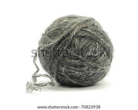 grey wool ball on a white background